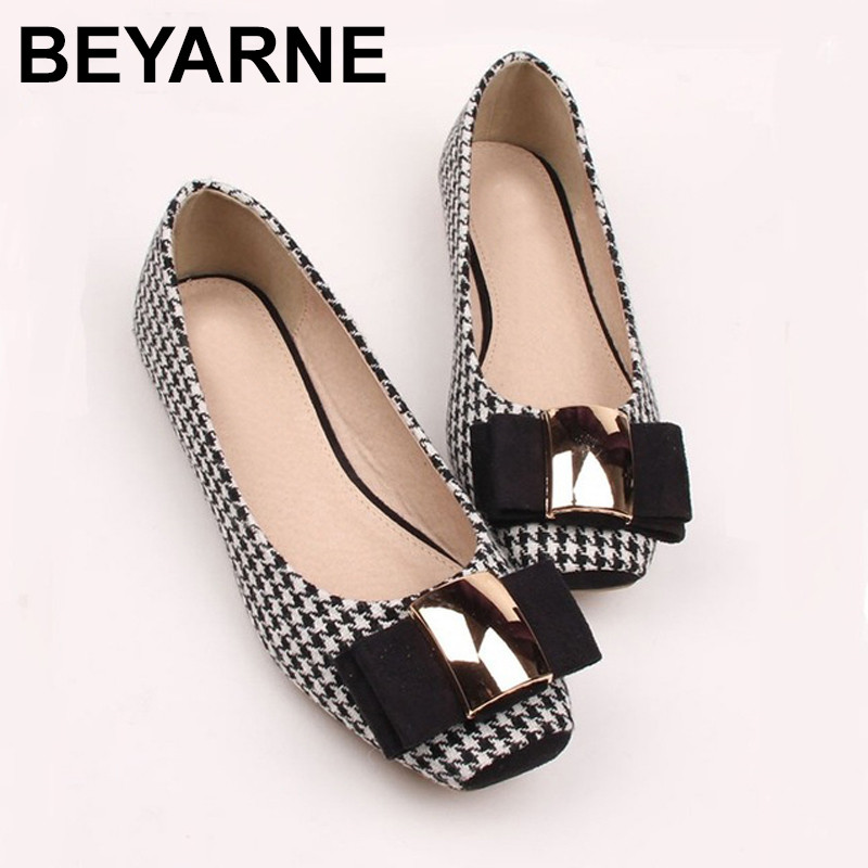 BEYARNE Women Shoes Woman Ballet Flats Plaid Cloth Shoe Bowknot Comfortable Square head Casual Shoes Slip On Women's Flat Shoes vintage embroidery women flats chinese floral canvas embroidered shoes national old beijing cloth single dance soft flats