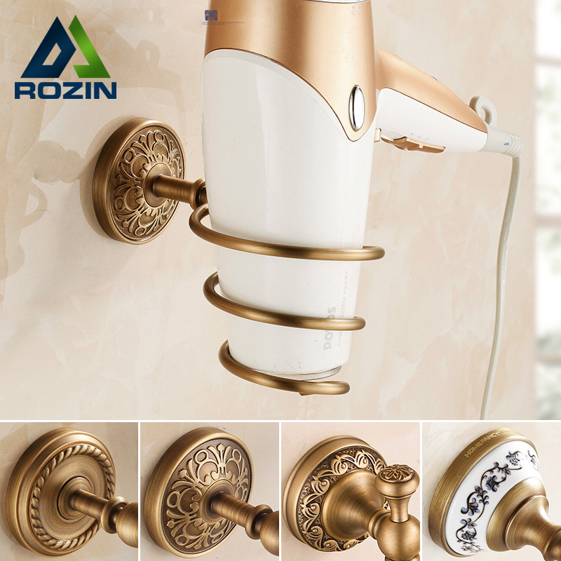 Free Shipping Antique Brass Bathroom Hotel Hair Dryer Holder Wall Mounted Bathroom Storage Holders & Racks free shipping wall mounted brass door stopper suitable for interior doors door holders for sale high suction 356g