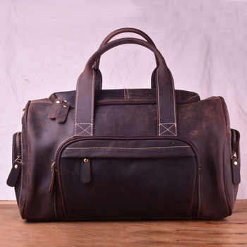 AETOO Large capacity mad horse leather travel bag, male cowhide retro business bag bag, leather shoulder handheld male bag