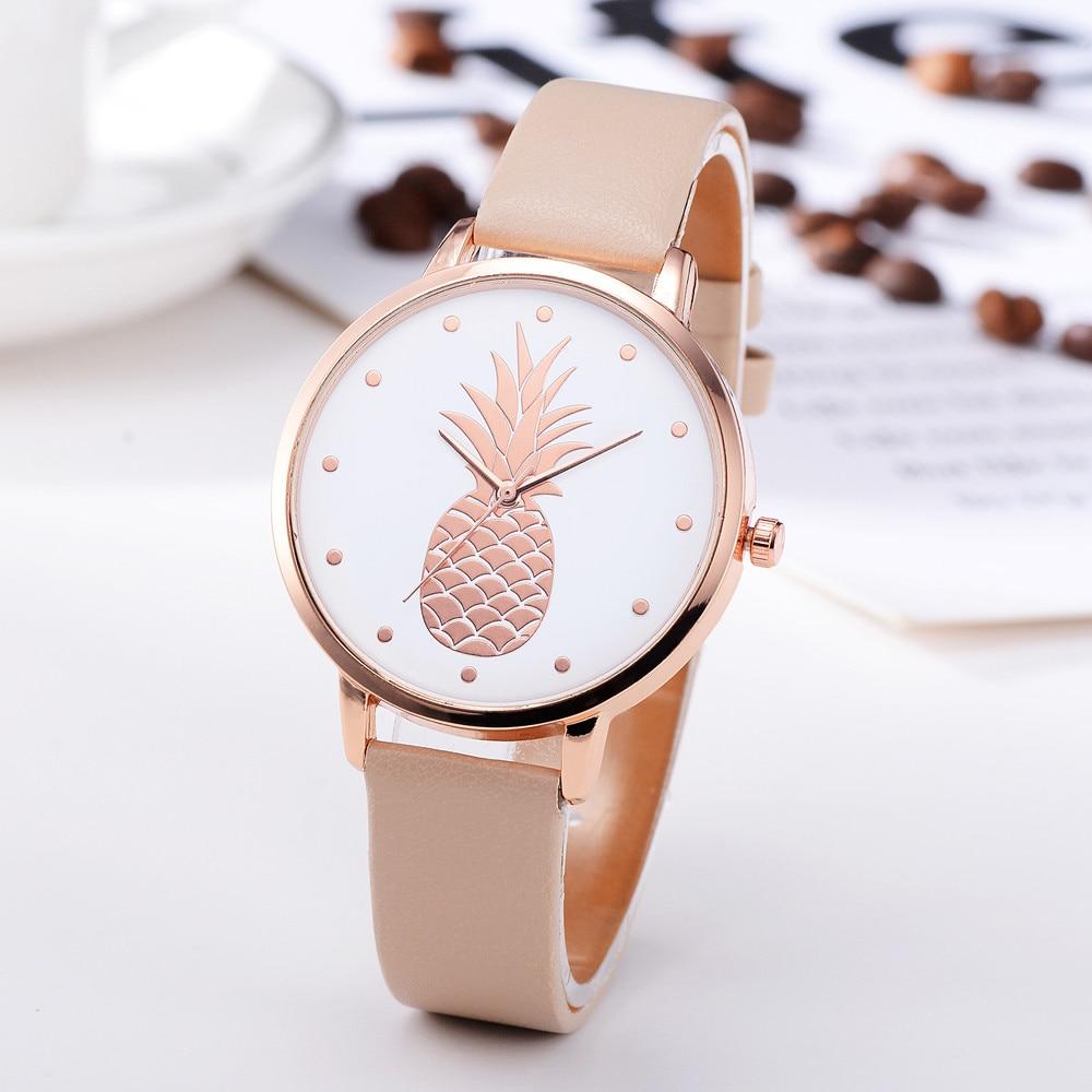 Simple Women's Watches Rose Gold Pineapple Pattern Rose Gold Disc Ladies Quartz Wristwatch Leather Strap Clock Kol Saati@50