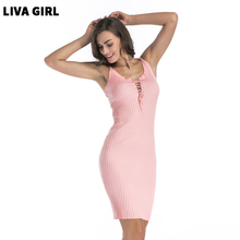 2018 Summer Sexy Sleeveless Dress Women Pink Lace-up Pencil Dress High Quality Female Bodycon Casual Knitted Dresses