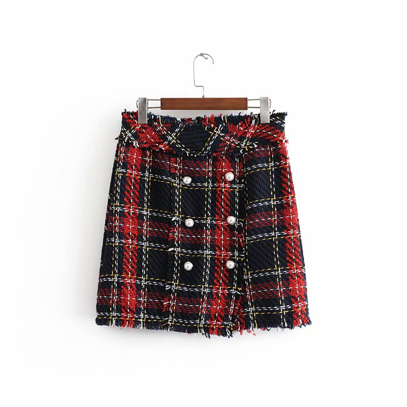 Nice Fashion Za Tweed Skirt Suits Women Mini Skirt Elegant Office Lady Double Breasted Frayed Checked Plaid Blazer Casaco Femme Relieving Heat And Thirst.