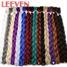 Leeven Kanekalon Jumbo Braids Hair Synthetic Crochet Braiding Hair Black Blue Pink White Purple African Fiber Hair 1PCS 165g(China)
