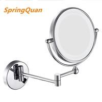 SpringQuan 8 inch led mirror with lamp 2 face European fashion collapsible wall mirror bathroom mirror Flat screen hd + 3X
