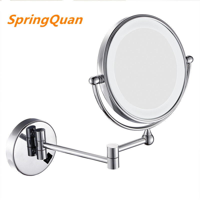 SpringQuan 8 цаляў вадзіць люстэрка з лямпай 2-слойного еўрапейскай модай складанага насценнага люстэркам ваннай люстэрка з плоскім экранам HD + 3X