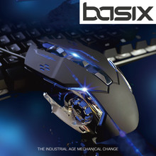 BASIX Mute silent mouse Wired Gaming Mouse Adjustable 6 Buttons Cable USB Optical Gamer Mice For PC Computer Laptop