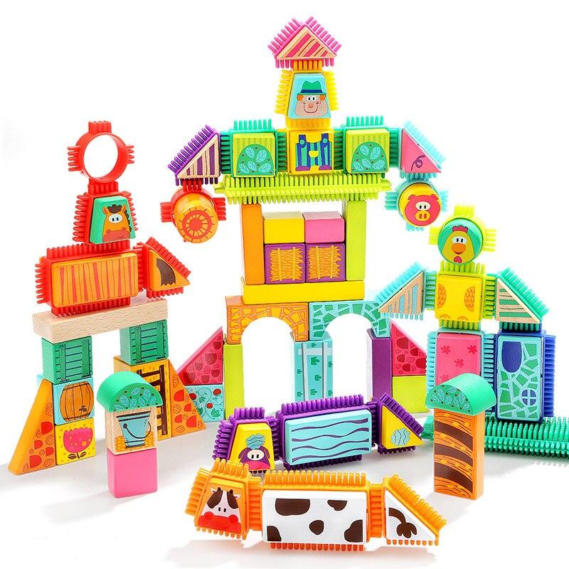 TOPBRIGHT 80 grain farm animal mane building blocks toys 2-3 years old boy building blocks assembling toys educational toys цена