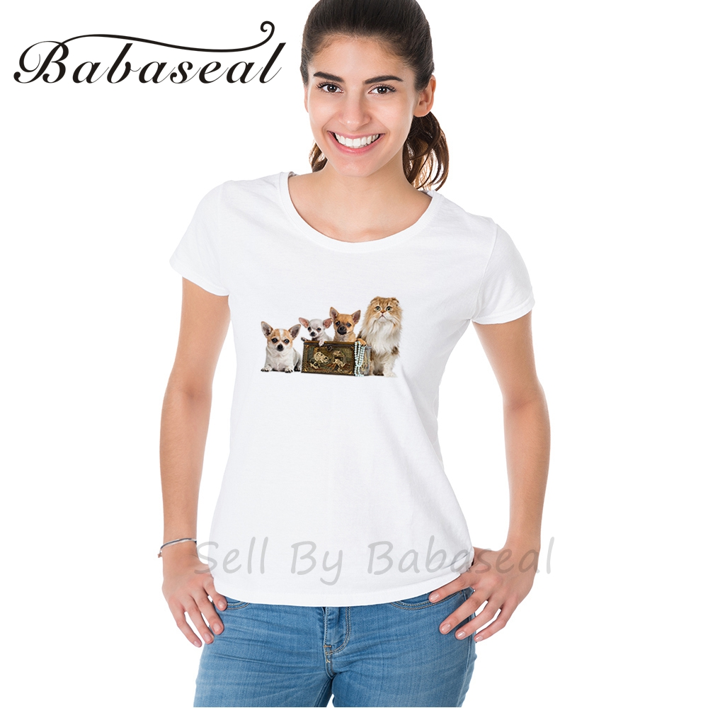 Babaseal Group Of Chihuahuas In A Vintage Box With Highland Fold Designer Letter Print T Shirt Black Friday Sale Woman Tshirt