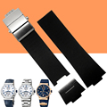 AUTO Waterproof Rubber Watchband Stainless Steel Fold Buckle Watch Band Strap for Ulysse Nardin MARINE 1183 Observatory 25x12mm