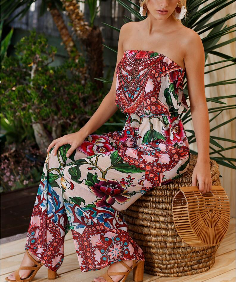 2018 Elegant Off shoulder Rompers Womens Summer Jumpsuit Sexy Ladies Casual Long Trousers Overalls Bohemian Jumpsuit