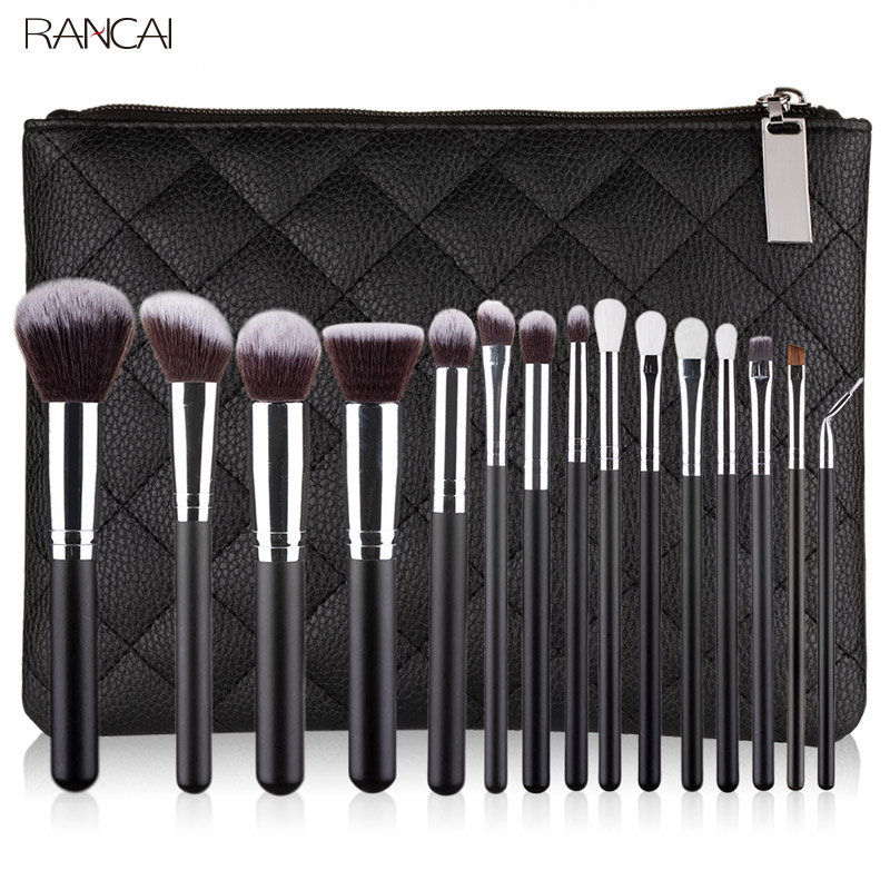 RANCAI Professional 10/15pcs Black Makeup Brushes Set Classic Power Brush Make Up Beauty Tools Soft Synthetic Hair Leather Case