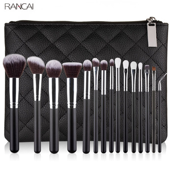 RANCAI 10/15pcs Professional Make-up Brushes Set Makeup Power Brush Make Up Beauty Tools Soft Synthetic Hair With Leather Case 2016 hot professional 16 pcs purple makeup brush set tools make up toiletry kit wool make up brush set case
