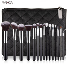 RANCAI Professional 10/15pcs Black Makeup brushes Set Classic Power Brush Make Up Beauty Tools Soft Synthetic Hair Leather Case 32pcs professional makeup brush set cosmetics tool soft synthetic hair with pu leather case for beauty msq brand