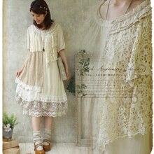 Лесная девушка Стиль рюшами свободные большой размер кружево лоскутное асимметричное платье двойной слой Mori Девушка Ретро Vantage платье Новинка