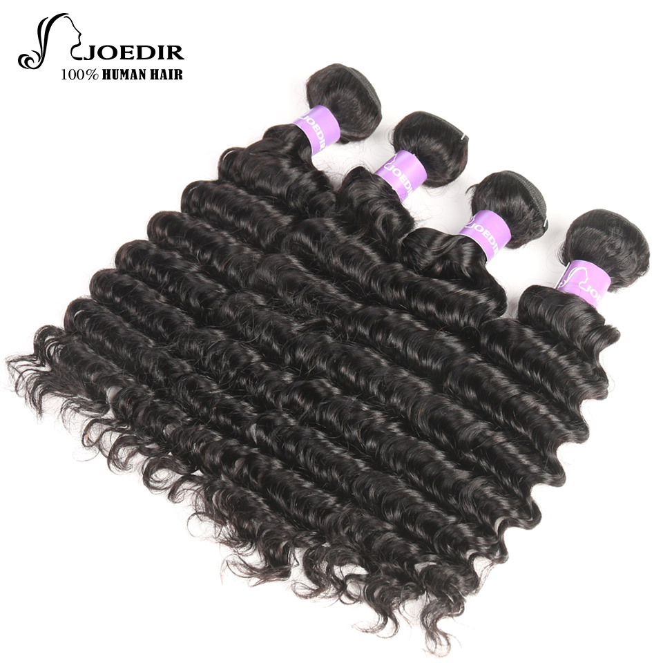 Joedir Natural Color Brazilian Deep Wave Hair Extention 4 Bundles Deal Free Shipping Non-Remy Human Hair Weave Bundles 4 Pcs/Lot