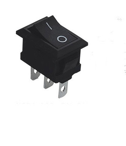 10pcs/lot 3 Pin <font><b>6A</b></font> <font><b>250V</b></font> Black Button Rocker Switch On - On Import Rocker Power Switches image