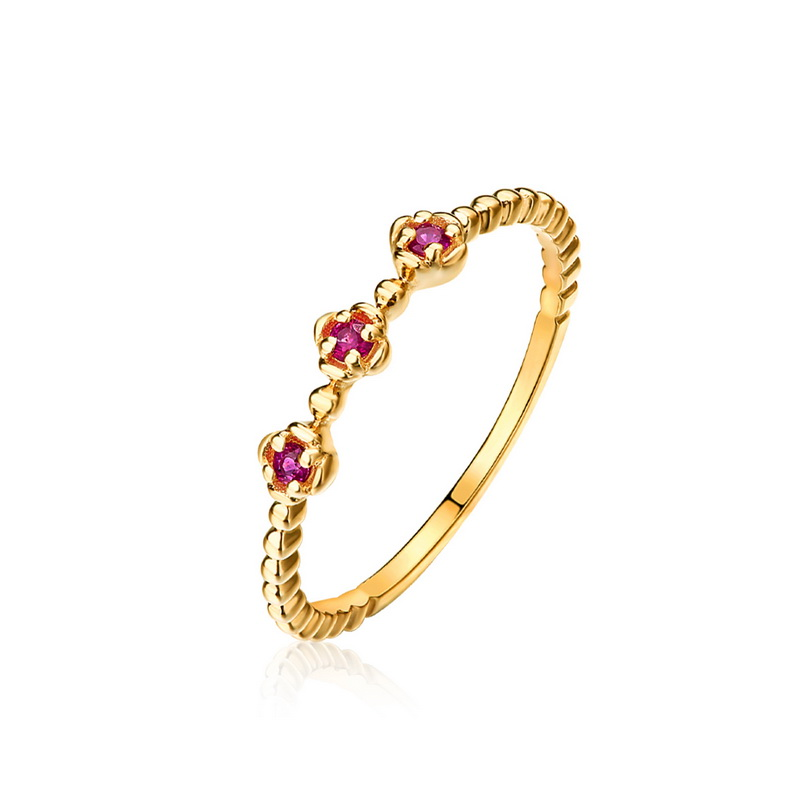 JXXGS Jewelry Red/Blue Zircon Ring 14k Gold Light Ring Rose Gold/Gold Ring For Daily Wear