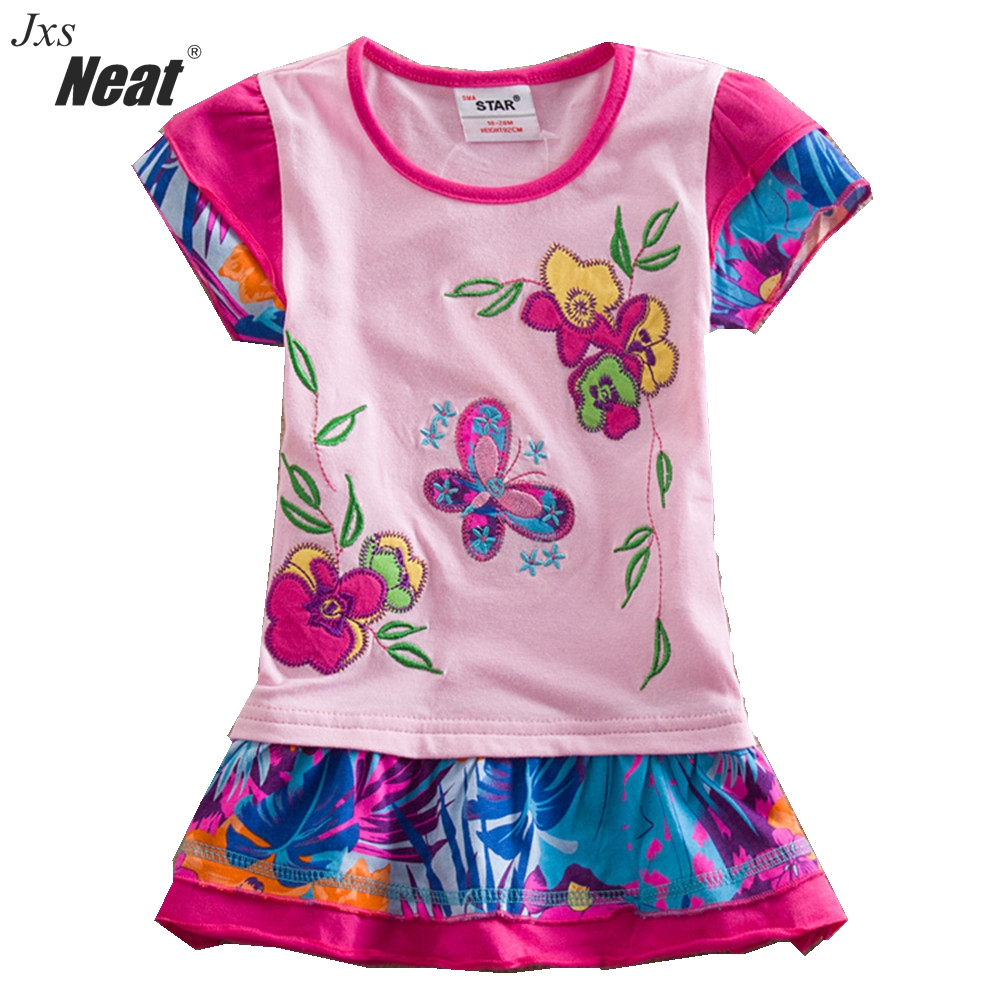 Summer New baby girl clothes college style girls dresses embroidered  stripe bow kids clothes short sleeve dress clothing S66303 kids clothes 2016 summer style short sleeve printded lotila floral girl dress nova kids baby girl cloting child wear dress