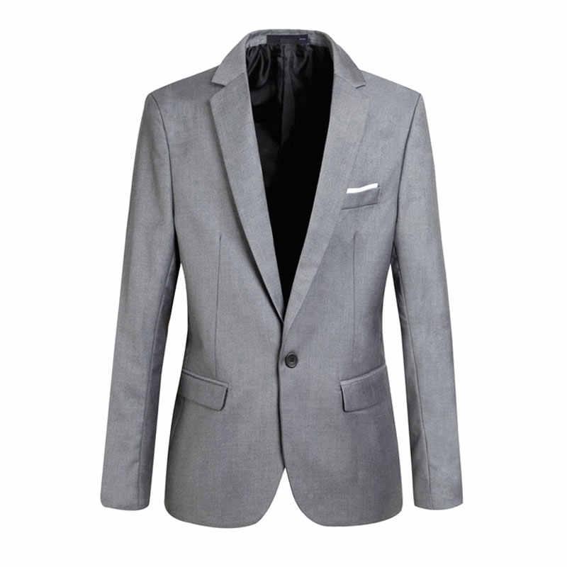 ファッション春秋のメンズブレザー長袖無地スリム男カジュアル薄型スーツジャケットオフィスブレイザープラスサイズ S-6XL AIC88