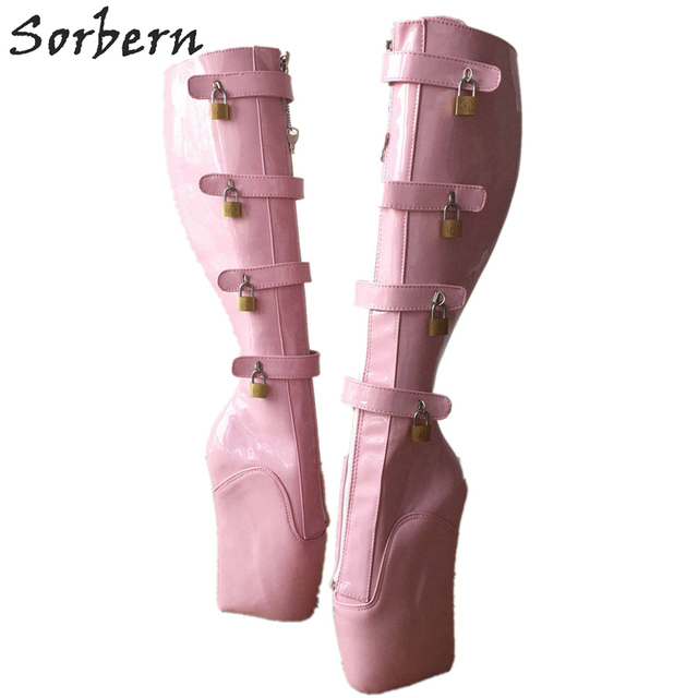 Sorbern Sexy Ballet High Heel Wedges Boots Knee High Women 18Cm 10 Keys  Lockable Boot Hoof Heelless Fetish Light Pink Shoes 53665e70b687
