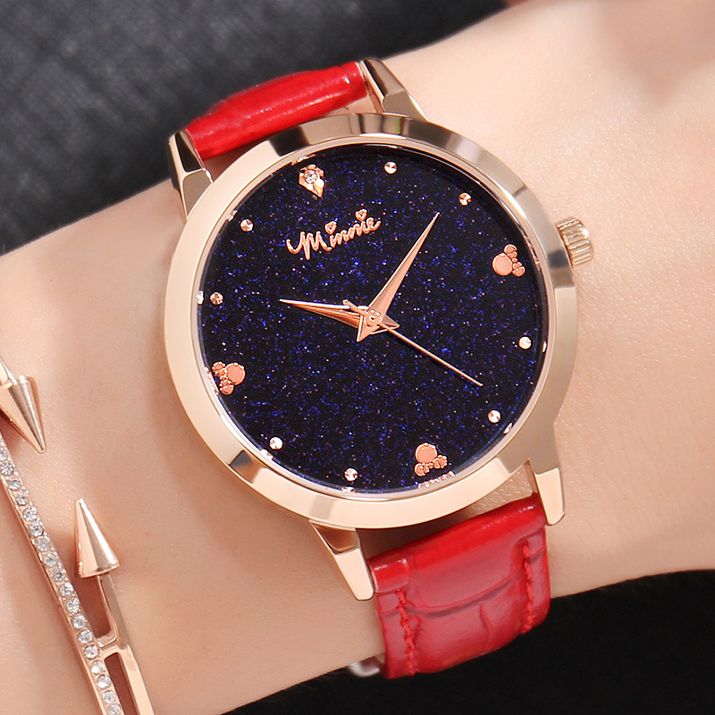 Disney Watches Women Fashion Watch Luxury Brand Quartz Ladies Watch Star Sky Leather Strap Fashion Mickey Shape Rhinestone экшн камера sony hdr as50