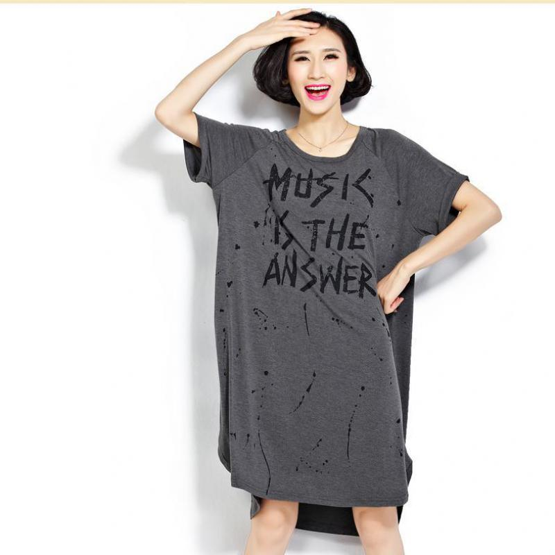 New Chic Plus Size Scoop Neck Letter Loose Short Sleeved Tee Shirts