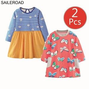 Image 5 - SAILEROAD 2 sztuk owoce jabłko drukuj dziewczyny sukienka z kieszeniami Vestidos 5 lat księżniczka dziecko sukienka dla dzieci ubrania Vestido Unicornio