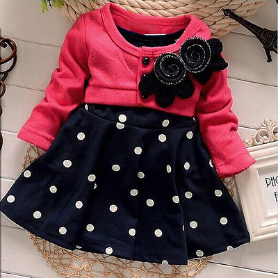 Cotton Baby Girls Toddler Dresses Party 2018 New Autumn Sleeve Polka Dot Princess Tutu Bow Girls Dress Children Clothing hsp029 2017 cute children girls cotton dress long sleeve print tutu party dresses toddler kids clothes outfits 1 5y