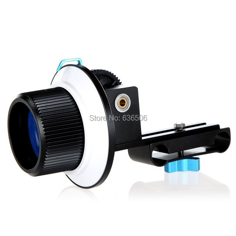 Lightdow Quick Release Clamp DSLR Follow Focus FF with Adjustable Gear Ring Belt for 15mm Rod Rig 60D 600D 5D2 GH2 D7000