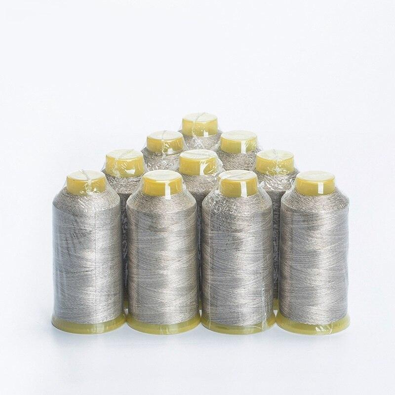 Fils à coudre fil à coudre conducteur en fibre d'argent antistatique 210D/3 brin faible résistance 100 g/pc 1100 meters/pc