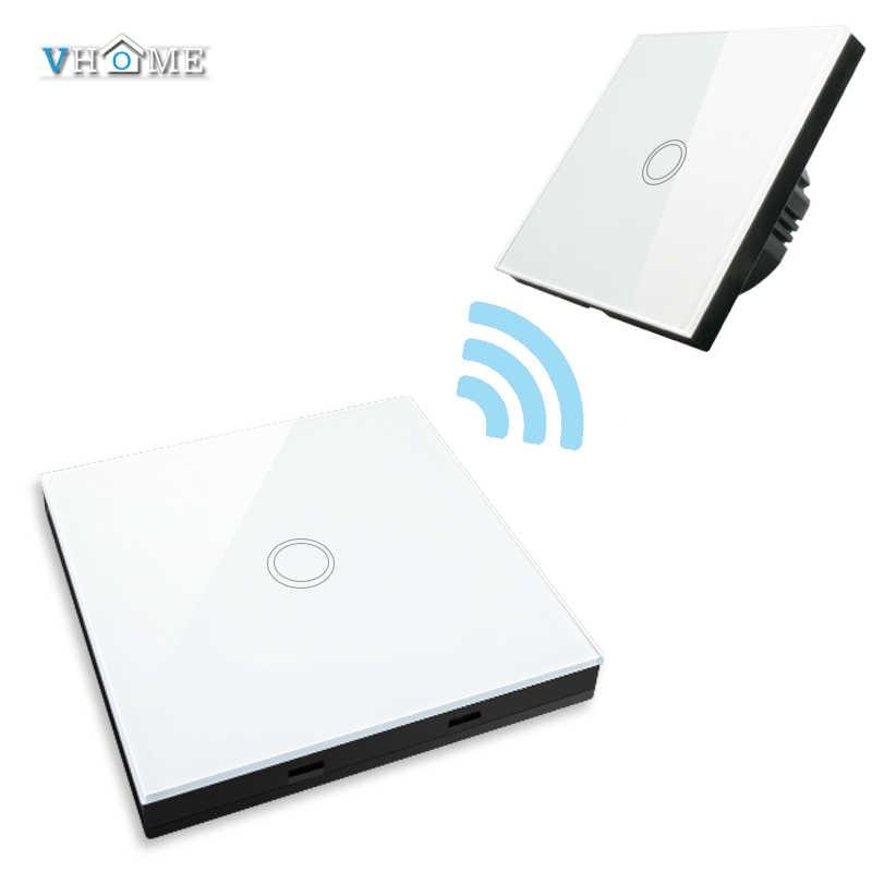 VHOME EU/英国スマートホーム 433 433MHZ の RF スマートリモコン送信機 + 220V 液晶パネルタッチ壁ライトスイッチ wi-fi による Broadlink