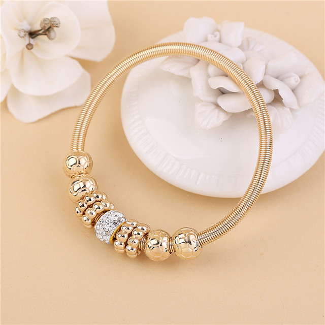 2018 Fashion Women Bracelet Gold Silver Crystal Alloy Beads Charm Bracelet For W