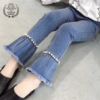 2018 New Spring Autumn Elastic Waist Jeans Kids For Big Girls Casual Summer Hot Fashion Princess Children Denim Flare Pants