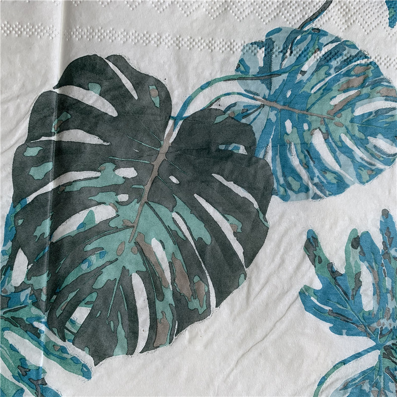 Image 2 - 20 vintage napkin paper elegant tissue blue green Monstera leaf decoupage wedding birthday party decor beautiful serviettes-in Disposable Party Tableware from Home & Garden