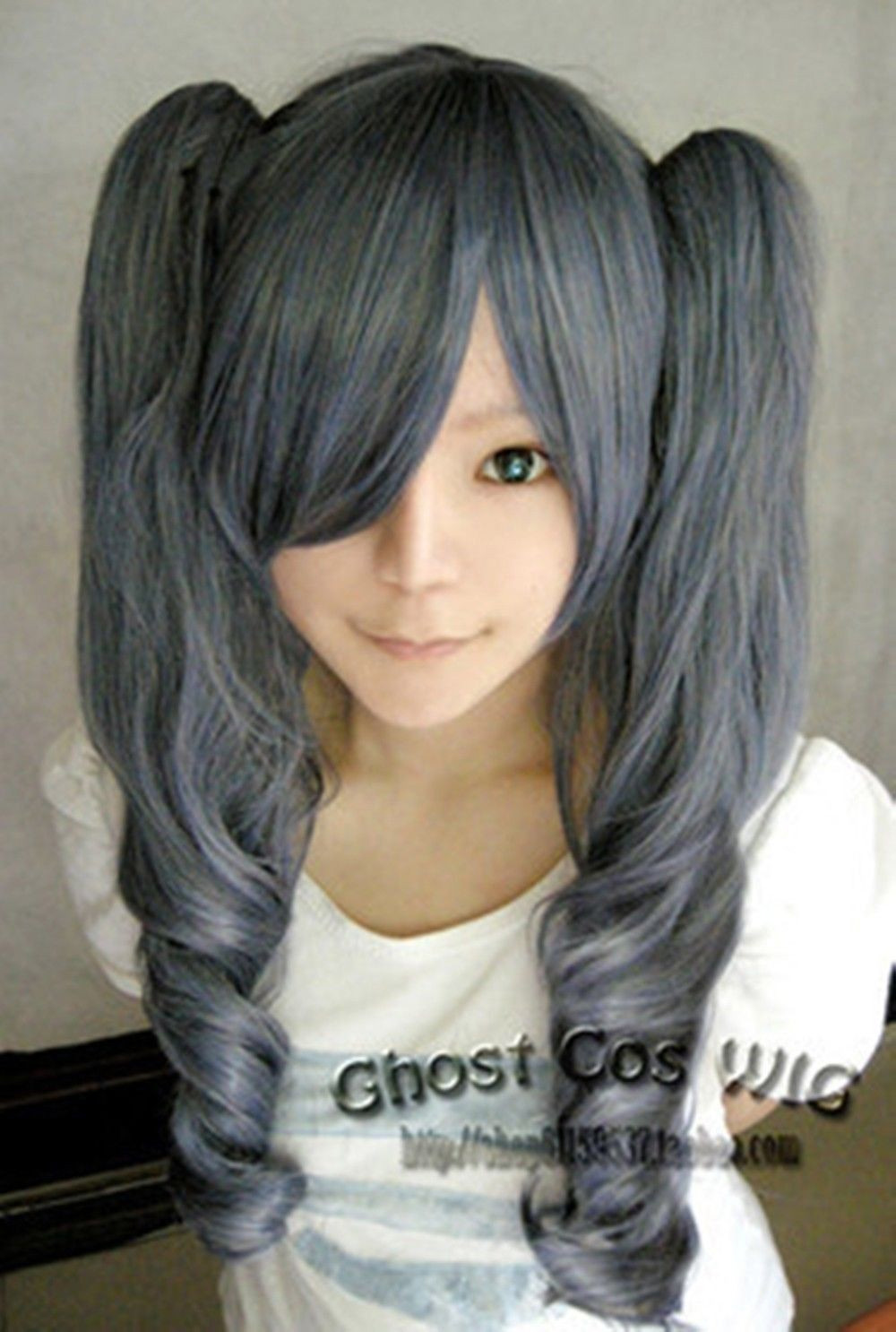 Contemplative Free Ship>>> Black Butler Kuroshitsuji Ciel Phantomhive Girl Ver Blue Mix Grey Cosplay Wig In Pain