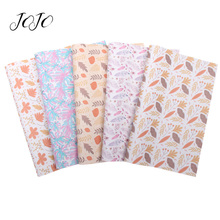 JOJO BOWS 22*30cm 1pc Faux Synthetic Leather Fabric For Needlework Leaf Feather Printed Sheet For DIY Bow Apparel Craft Supplies jojo bows 22 30cm 1pc synthetic leather fabric for crafts mermaid printed faux sheet for needlework bag apparel sewing materials