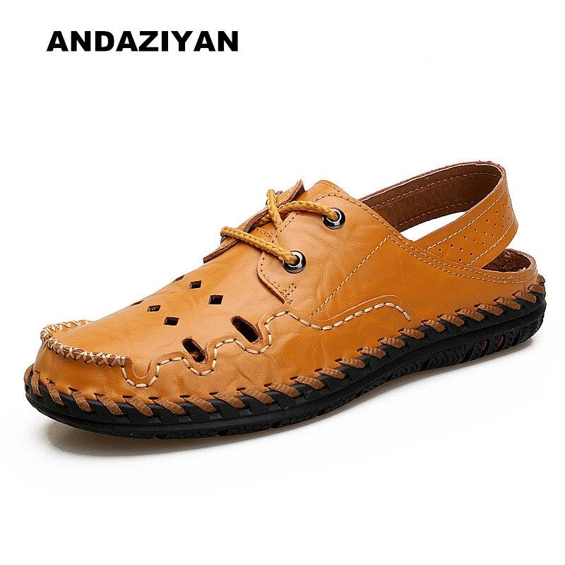 Été nouveaux hommes sandales trous de poinçonnage respirant chaussures paresseux