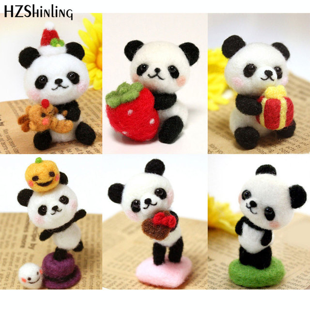 Fashion Cute Panda Gift Handmade Toy Doll For Her Wool Felt Poked Kitting Non-Finished DIY Wool Felting Package