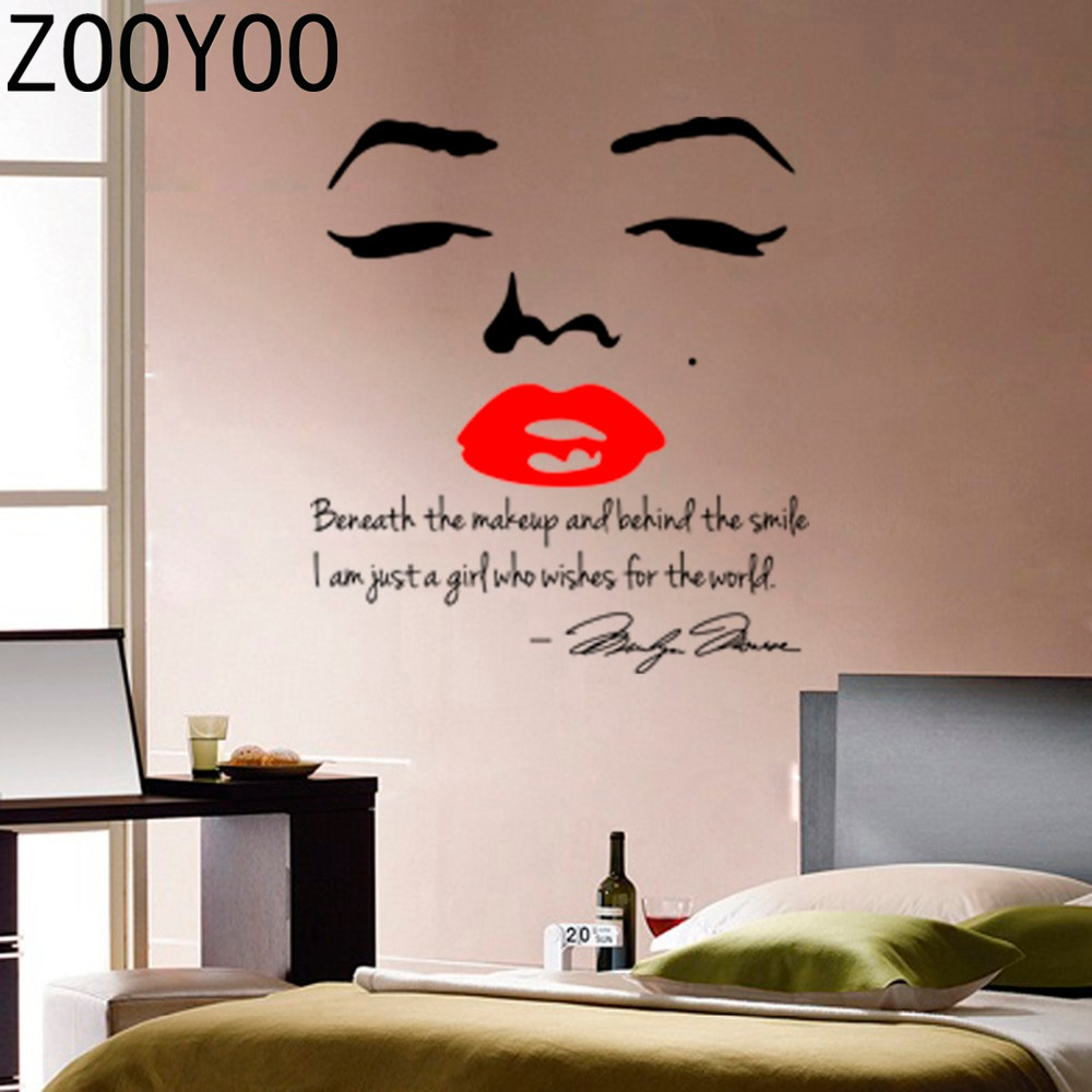 Aliexpress.com : Buy ZOOYOO Marilyn Monroe Wall Sticker Quote Red Lips  Vinyl Home Decor Art Mural Sticker Adesivo De Parede Wallpaper Home  Decoration From ...