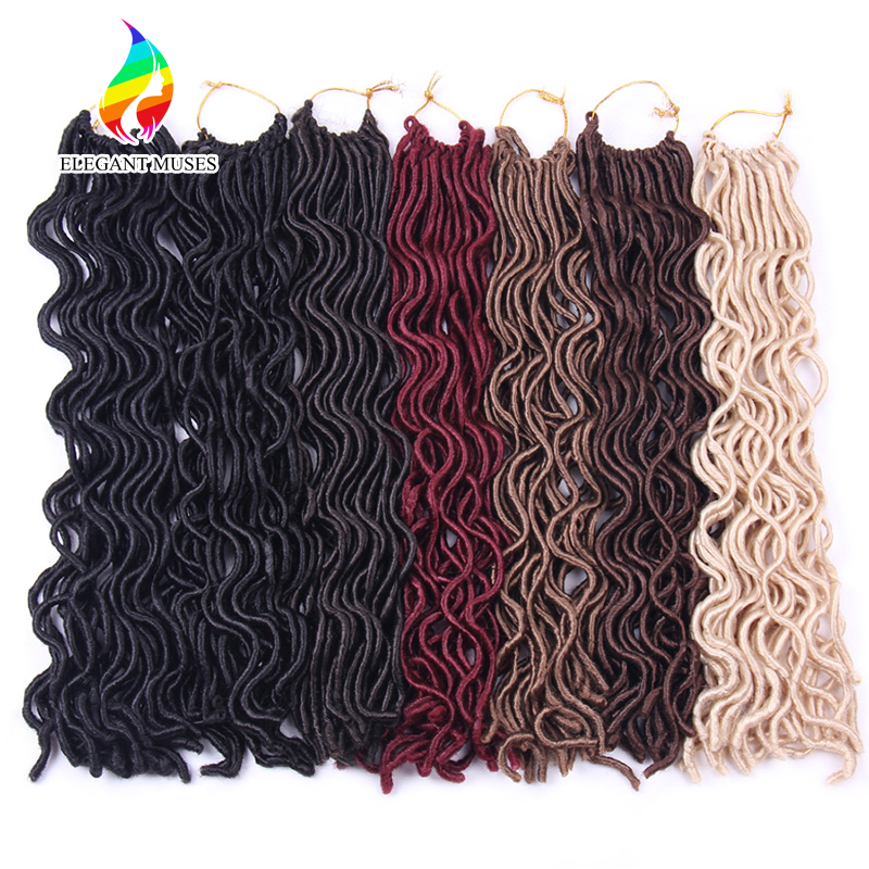 ELEGANT MUSES 6Packs/lot 20 Inch Faux Locs Curly Braiding Hair Extensions Synthetic Fiber Crochet Twist Braids Hair 100g/pack