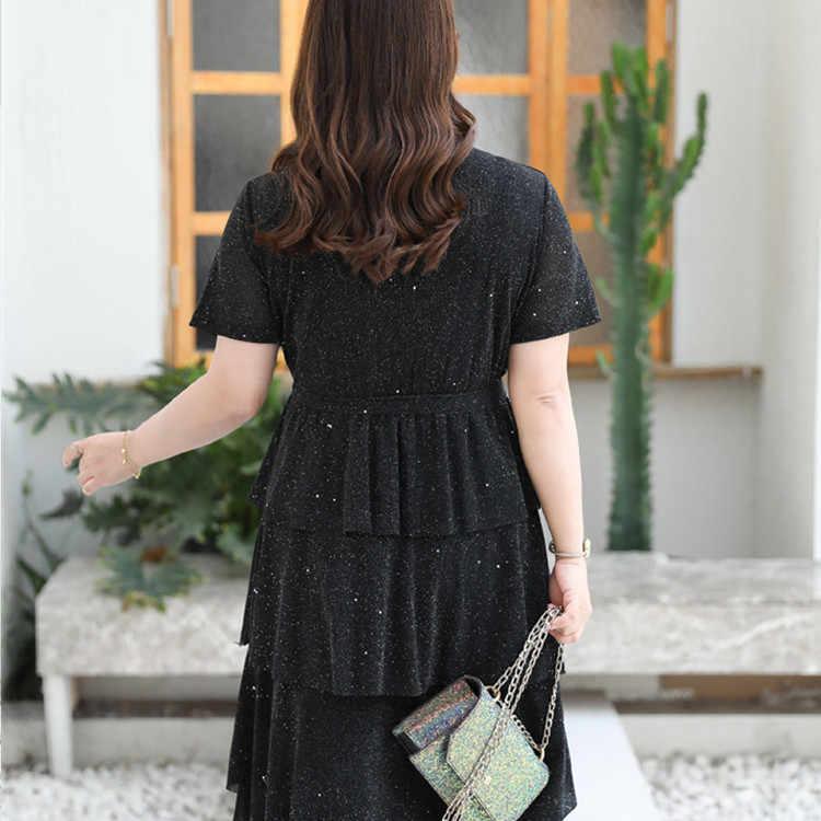 XL-9XL Große größe frauen Sommer Kleid Casual Plus Größe 2019 Kuchen Kleid 7XL 8XL V Neck Dame Layered Elegante glänzend Partei Vestidos