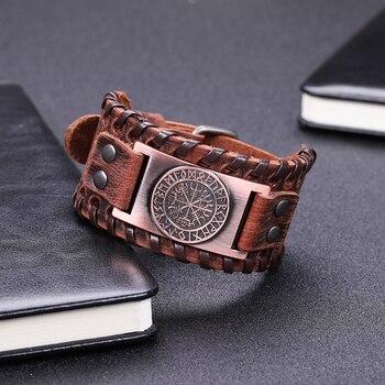 Skyrim Vintage Viking Compass Genuine Leather Bracelet for Man Bangle Nordic Runes Odin Symbol Wrap Jewelry Accessories 4