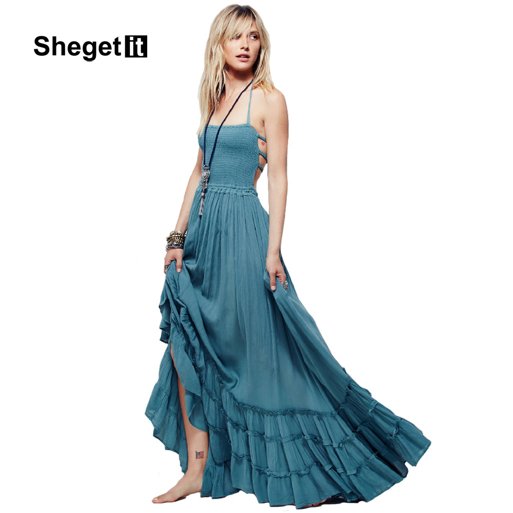 Aliexpress.com : Buy Shegetit Women Cotton Linen Maxi Dress 2016 New ...