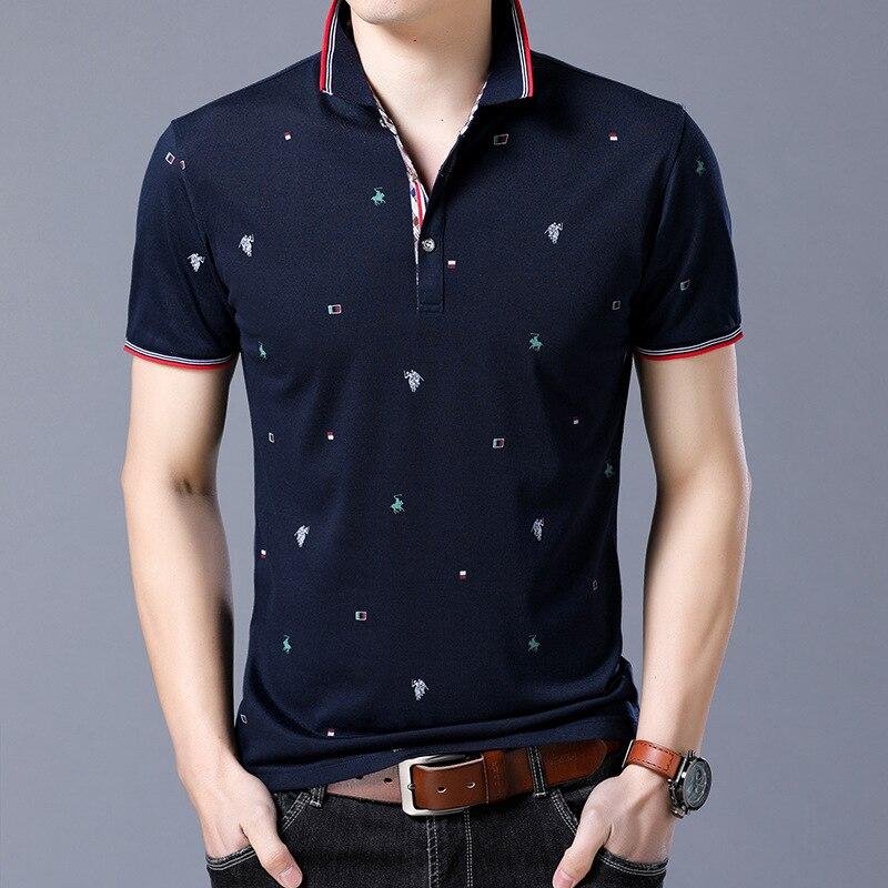New Brand   Polos   Mens Horse Printed   POLO   Shirts Cotton Short Sleeve Camisas   Polo   Casual Turn down Collar Male   Polo   Shirt 3XL