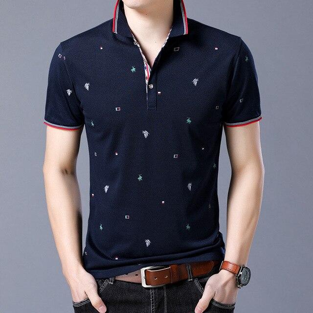 Nova Marca Polos Mens Cavalo Impresso POLO Camisas de Algodão Curta Camisas  Polo Gola Virada para f9c57df6934b1