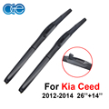 Oge 26''+14'' Wiper Blade Fit For Kia Ceed 2012 2013 2014 High Quality Natural Rubber Windshield Windscreen Car Accessories