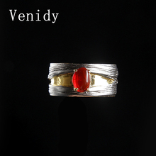 Venidy Trendy Fire Opal Gem Red Stone 925 sterling silver vintage rings for women Elegant Fine Jewelry Gift for Lovers Wedding