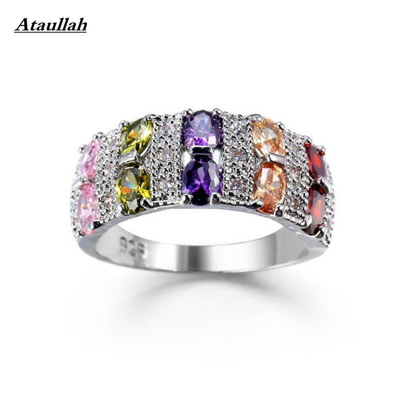 Ataullah Hot Fashion Silver Color Sparkling Rings for Women Girls Brilliant Zircon CZ Wedding Engagement Jewelry RWD7-030