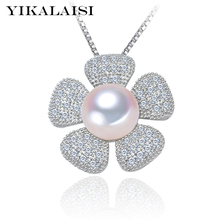 YIKALAISI 2017 choker Necklace Pearl Jewelry Natural Freshwater Pearl flower Pendant real 925 Sterling Silver Jewelry For Women