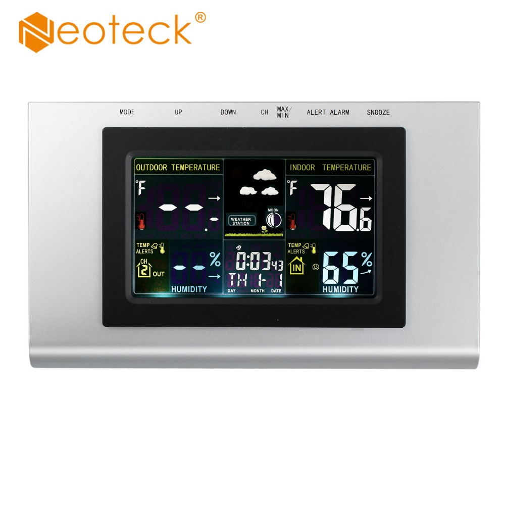 Neoteck Digital LCD Wireless Indoor Outdoor Weather Station Temp Thermometer Alarm Clock For Temperature Humidity Tester стоимость